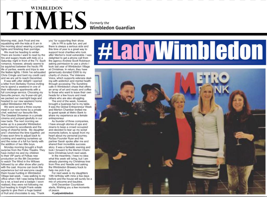Lady Wimbledon, Metro Bank, Global Entrepreneur Week, Wimbledon Hill Park, Berekely Home, The Polka Theatre
