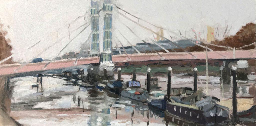 Wimbledon artist Sarah Manolescue oil painting of Albert Bridge
