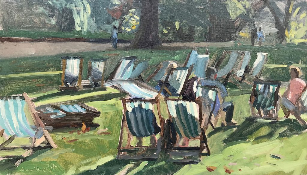 Sarah Manolescue en plein air painting of St James Park