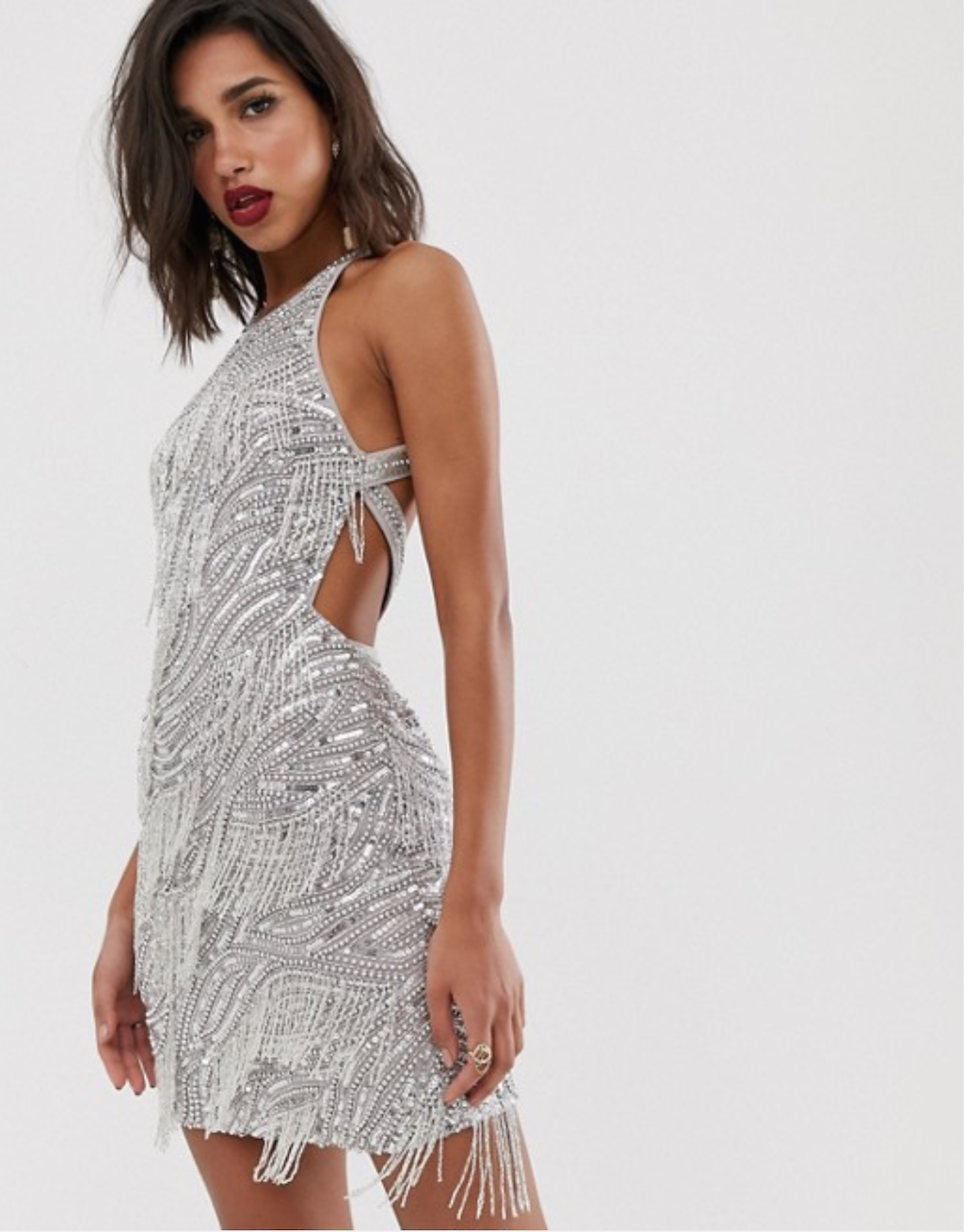 Silver sequinned mini dress