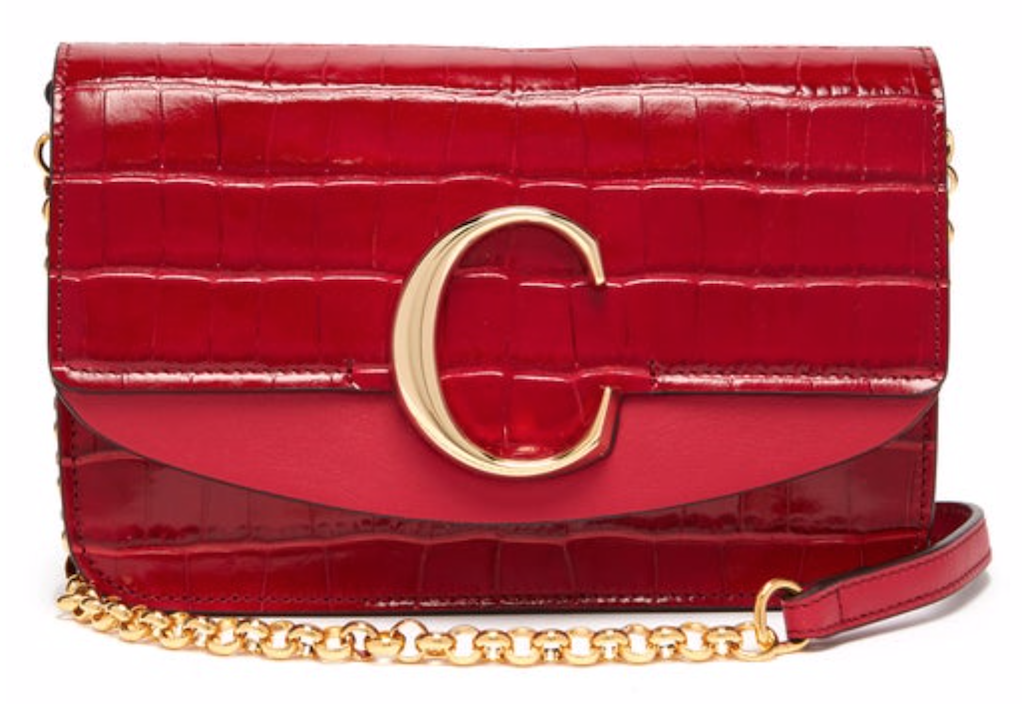 Chloé mini clutch bag in red croc-effect