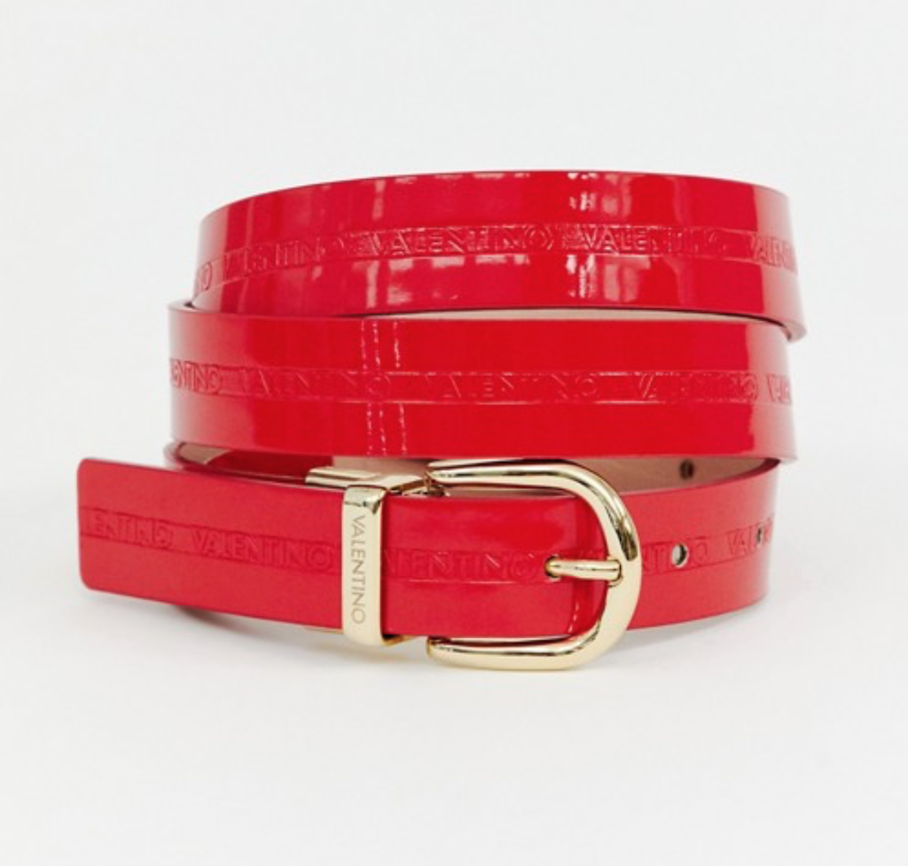 Red patent belt by Valentino