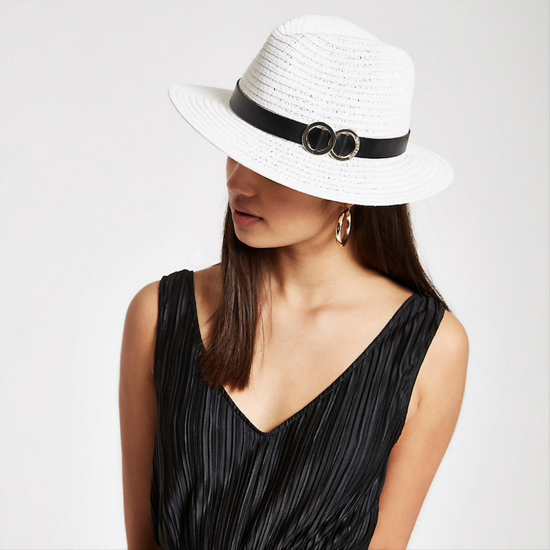 River Island, White double ring trim straw hat