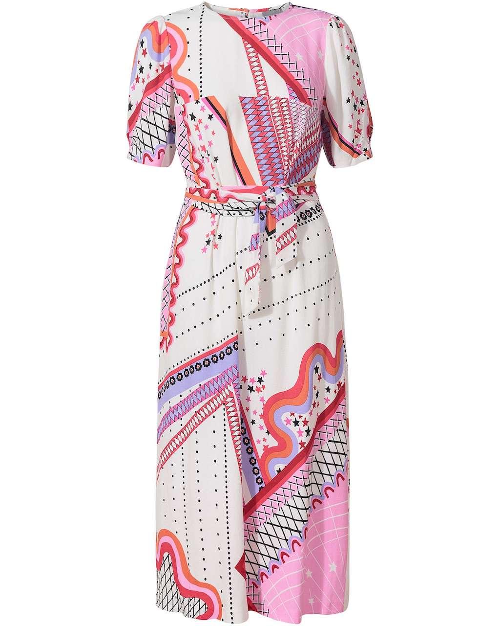 Oliver Bonas, Mix & Match Star Print White Midi Dress, £75