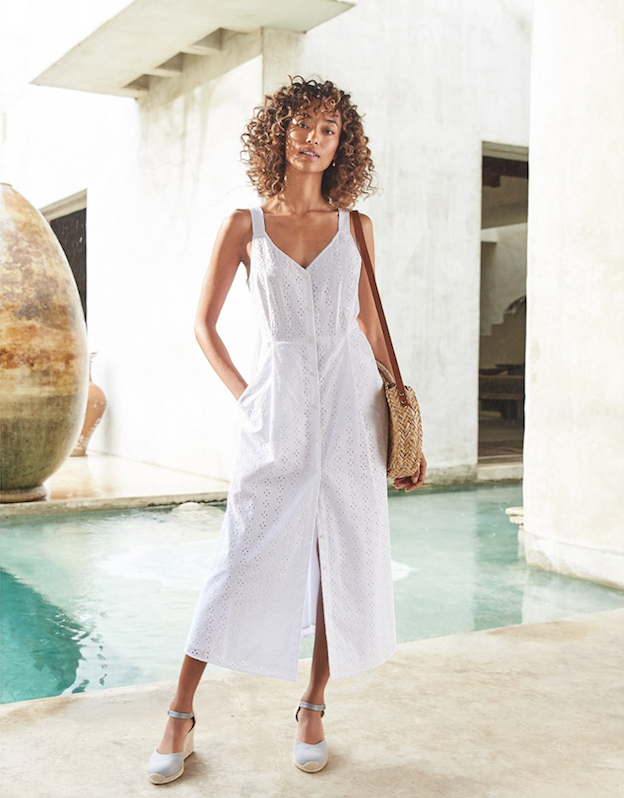 Cotton Broderie Fit & Flare Dress, The White Company