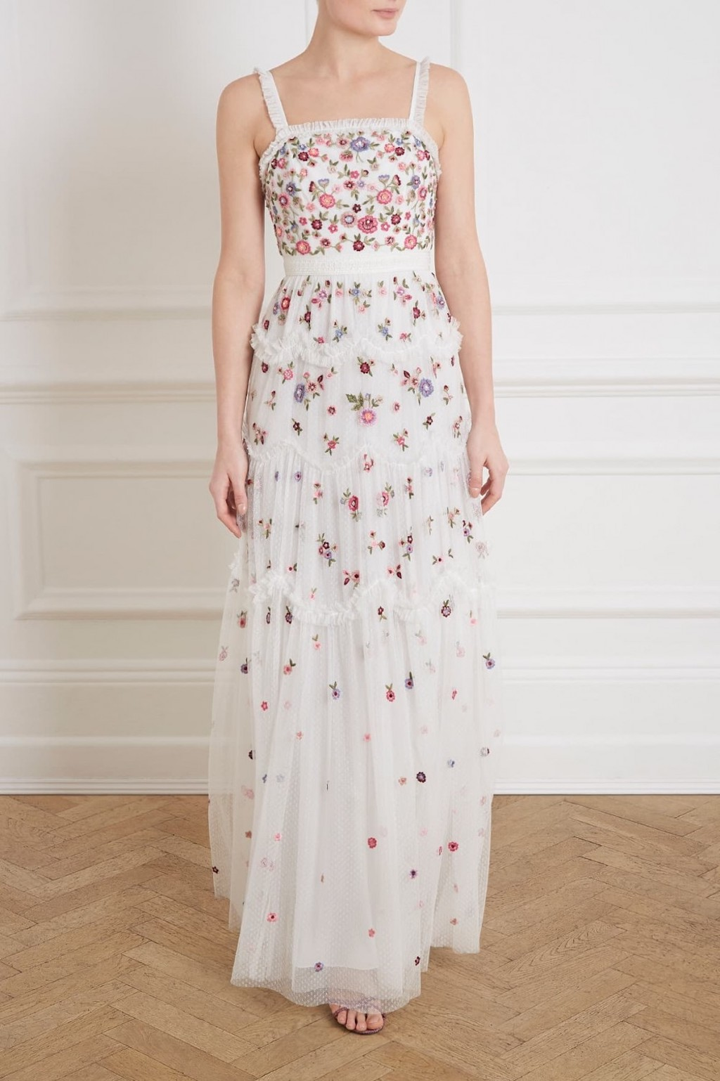 Needle & Thread embroidered white dress