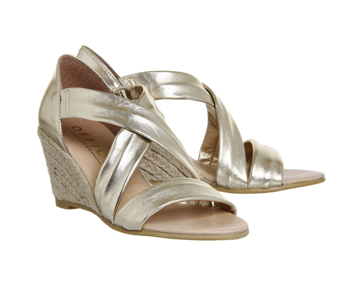 What to wear to Wimbledon Finals: Gold strappy wedge court shoes from Office