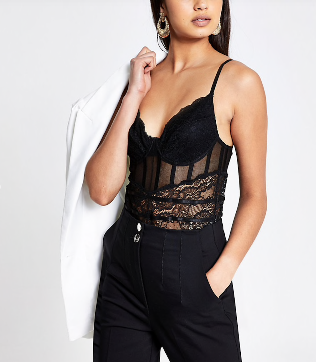 River Island Black lace sheer panel bodysuit